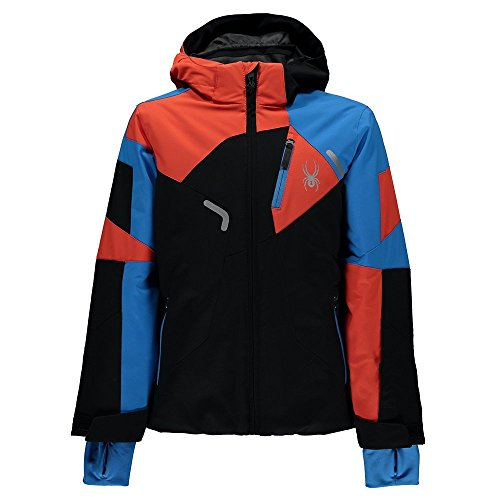 Spyder Kids  Boy's Leader Jacket (Big Kids) Black/Fresh Blue/Burst 16