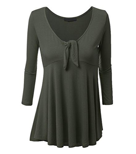 ZKOO Mujeres Otoño Manga Larga Camiseta Prendas De Punto Doblar Dobladillo Pullover Suéter Blouses Tops Ejército Verde