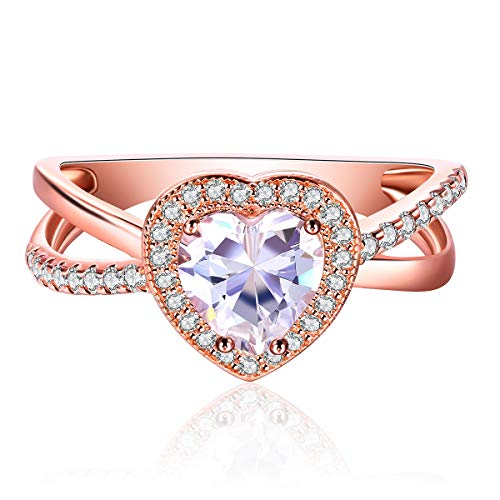 Jiangyue Women Rings AAA Cubic Zirconia Rose Gold Plated Heart Shaped Ring Charming Halo Elegant Party Jewelry Valentine's Day Mother 's Day Gift Size 7