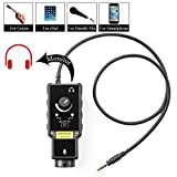 XLR Microphone Preamp Adapter for Smartphone Vlog Karaoke, Saramonic Mic with 6.3mm Guitar Adapter & Phantom Power Preamp Amplifier for iPhone 8 8 Plus 7 7 Plus 6 iPad iPod, Android and Guitar
