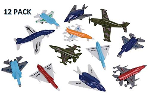 (CUZAIL Party Favors - 12 Piece Toy Aircraft Airplane Play Set - Fleet of Military Airplane Theme - Party Theme - Cupcake Toppers - Gift Set - Fighter Jet Set)