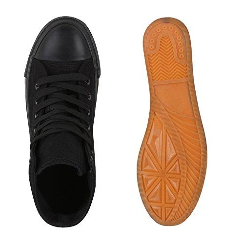 Damen Sneaker High Glitzer Sneakers Camouflage Stoffschuhe Sportschuhe Schnürer Übergrößen Flats Turnschuhe Flandell Schwarz Schwarz