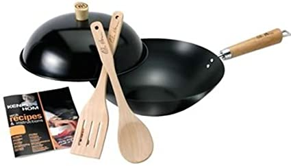 Carbon Steel Ken Hom Everyday Range Non-Stick Wok Set 4-Piece Set Black 31 cm
