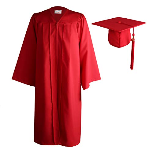 OSBO GradSeason Unisex Matte Adult Graduation Gown Cap Tassel Set Red ()