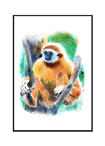 White-Handed Gibbon Monkey - Watercolor (24x36 Framed Gallery Wrapped Stretched Canvas) by Lantern Press