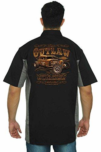 Hot Rod Mens Button Front (Men's Mechanic Work Shirt The Outlaw Hot Rod Garage Black/Grey (XL))