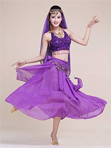 Dance 7PC Kleid Honeystore Violett Neuheiten 2017 Indien Damen mit Latein Dance Pailletten Belly gx08wxrnT
