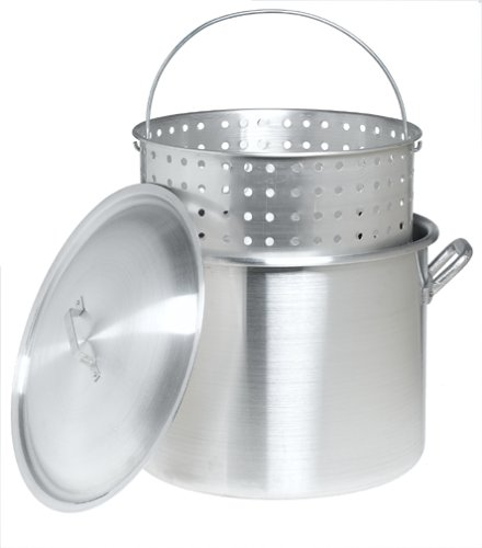 Bayou Classic 8000 80-Quart Aluminum Stockpot with Boil Basket -