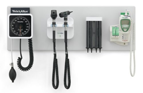 Welch Allyn Green Series 777 Integrated Wall System with Panoptic, Macroview Otoscope, Wall Aneroid, Kleenspec Specula Dispenser, Suretemp Plus 690 Thermometer and Wall Board (300 Series Welch Allyn)