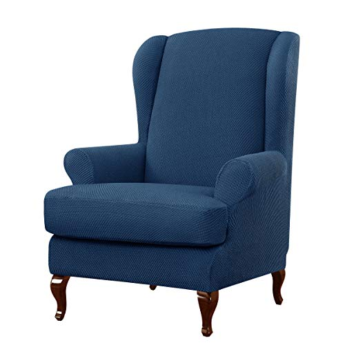 subrtex 2-Piece Granule Jacquard wingback Chair Slipcover High Elastic Armchair Cover Waffle Fabric Back Furniture Protector for Living Room Spandex Stretch Sofa Slipcovers(Blue)