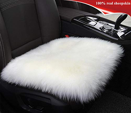 Sheepskin Car Seat Cover Cushion Sisha Luxury Long Wool Winter Warm Seat Cushion for Auto Car and Office Chair (White)