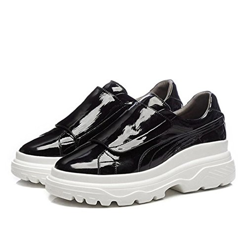 mujer alto GAOLIXIA velcro tacón de entrenamiento gimnasio Zapatillas Black de gruesos las Zapatos deportivos señoras para deporte cuero de Zapatos de planos de Zapatillas con de ligeros TTprqw