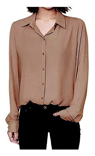 ARJOSA Women's Chiffon Long Sleeve Button Down Casual Shirt Blouse Top (US L/Asian XXL, Brown) ()