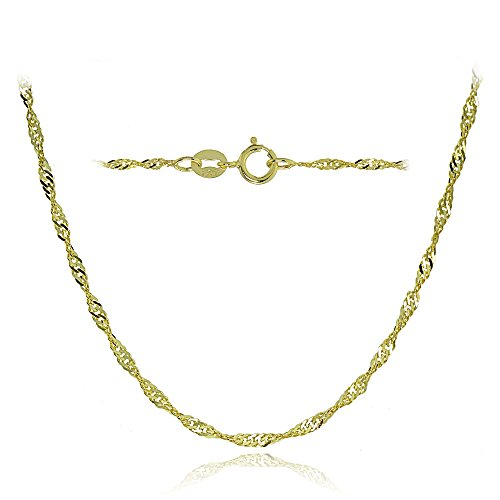 Bria Lou 14k Yellow Gold 1.4mm Italian Singapore Chain Necklace, 18 Inches by Bria Lou