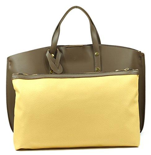 CHANTILLY OH femme Sac Modèle Main à en Fonce cuir glacé Taupe MY BAG qSq4wgZ