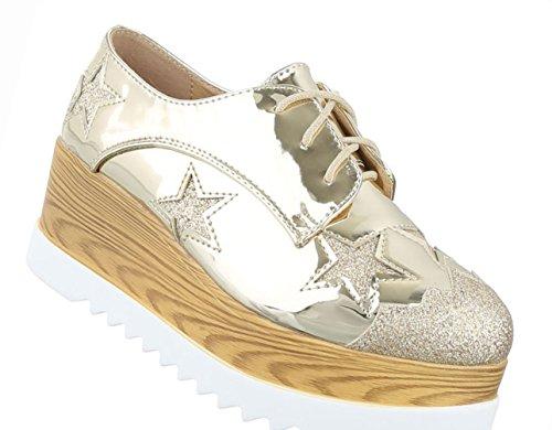Damen Schuhe Halbschuhe Plateau Schnürer Boots Bronze Gold