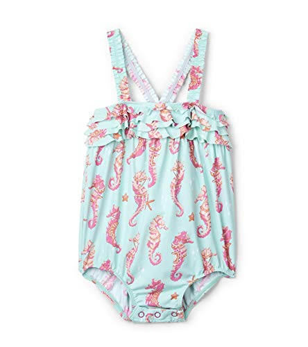 Hatley Baby Girls Ruffle Swimsuit, Fantastic Seahorses, 12-18 Months -