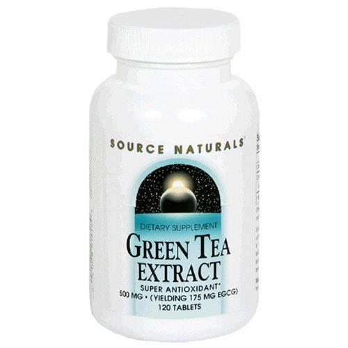 Source Naturals extrait de thé vert 500 mg, 120 comprimés (lot de 2)