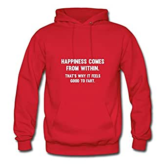 Off-the-record Stylish Happiness Comes From Within Cotton Hoodies X-large Women Red