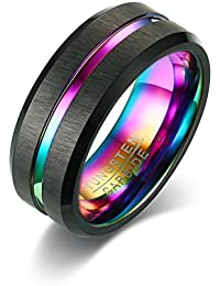 MP 8mm Men's Tungsten Carbide Matte Finish Multi Color Groove Wedding Band Promise Ring,Rainbow Inside