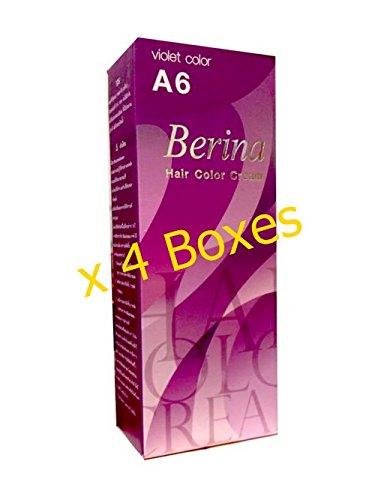 Pack of 4 Berina BERINA PROFESSIONALS Hair Color Cream Permanent Hair Dye Color A6 : Violet 60 G. Super Permanent Fashion Unisex