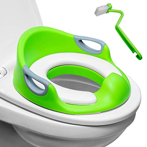 Potty Training Seat for Boys & Girls | Detachable Soft Cushion | Sturdy Handles | Urine Splash Guard | Non-Slip Rubber Grip | Includes Free Brush- Magic Baby