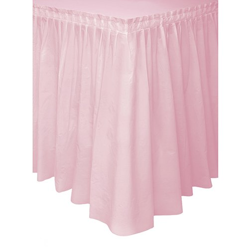 Plastic Table Skirt, 14 Feet, Light Pink - 14' Table Light