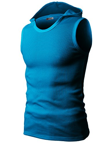 H2H Mens Soft Cotton Hooded Sleeveless T-Shirts SkyBlue US XL/Asia XXXL (JPSK05)