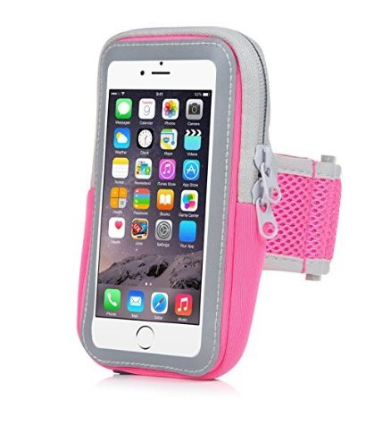 Yostyle Sports Armband Sweatproof Running Armbag Gym Fitness Workout Cell Phone Case with Key Holder Wallet Card Slot for iPhone X/XS/XS MAX/XR/ 8 7 6 6s Plus Samsung Galaxy S9 S8 Edge/Note 8 9 (Pink) (Horses 7 Running)
