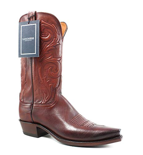 - Lucchese N4773.54 Nicole Womens Antique Wine Burn Leather Cowboy Western Boots