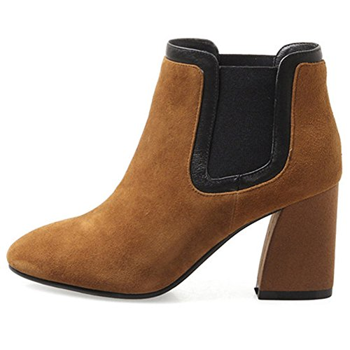 Suede Booties Slip On Toe Leather Nine Fashion Seven Handmade Ankle Ladies Round Brown Chunky Women's Heel 6x5xTwWqn
