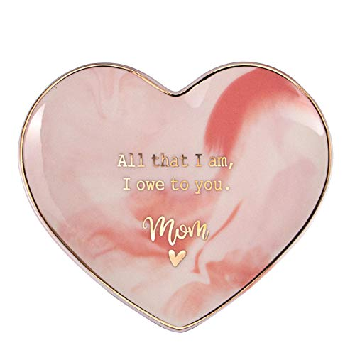 VILIGHT Moms Gifts from Daughter - All That I AM, I OWE to You MOM - Marble Pink Heart Ceramic Ring Dish Jewelry Tray - Large Size -