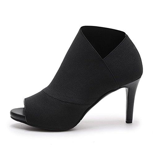 AllhqFashion Women's Peep Toe Pull-on Blend Materials Solid High-Heels Sandals Black nQQEvaRkkl