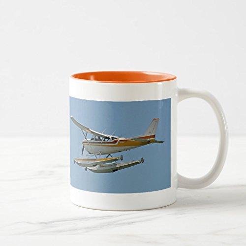 Zazzle Sea Plane - Seaplane Mug, Orange Two-Tone Mug 11 oz (B757 Plane)