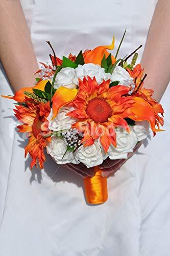 Silk Blooms Ltd Artificial Bright Orange Sunflower and Calla Lily Bridal Bouquet w/Foam Roses