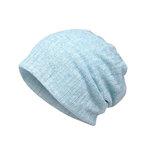 (Cotton Fashion Beanies Chemo Caps Cancer Headwear Skull Cap Knitted hat Scarf for Womens Mens (E-Blue) )