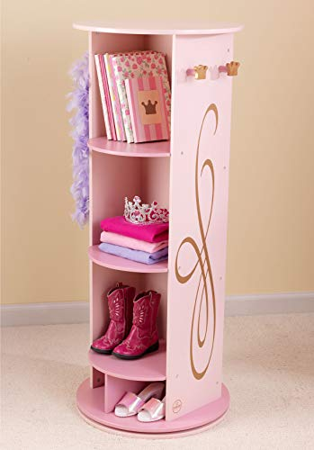 OS Home and Office 76138 Furniture Princess Vanity with Mirror Swivel armoire, Pink