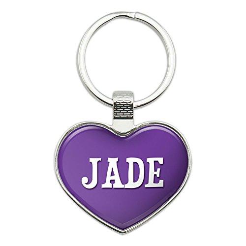 Metal Keychain Key Chain Ring Purple I Love Heart Names Female J Ja - Jade