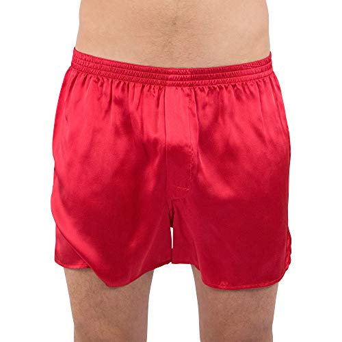 Intimo Men's Classic Silk Boxers, Red, Large reviews