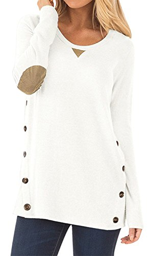 Toplook Women's Casual Tops Long Sleeve Loose Tunic With Faux Suede and Buttons Detail Blouse Shirt (White, S) (Button Suede Washable)