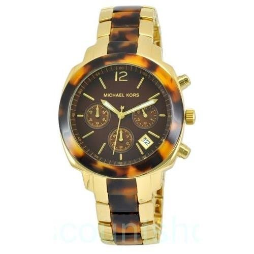Michael Kors Chronograph Ladies Gold Tortoise Watch - Tortoise Kors Watch Michael