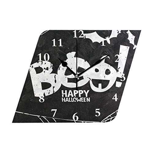 HU MOVR Wall Clock Scary Boo Bat Watercolor Spiderweb Doodle Silent Non Ticking Decorative Diamond Digital Clocks Indoor Outdoor Kitchen Bedroom Living Room