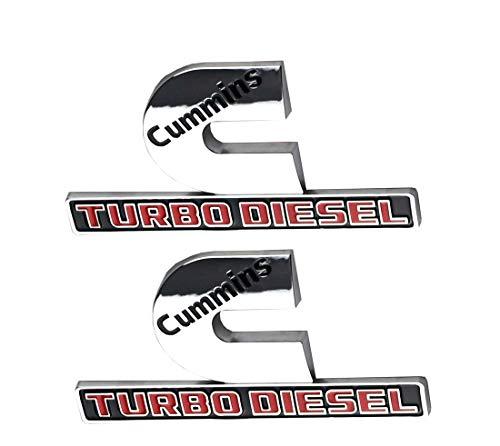 (2pcs Cummins Turbo Diesel Emblems 3D Decal Badges High Output Replacement for Dodge Ram 2500 3500 Nameplate Emblem Mopar Chrome)