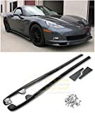 Extreme Online Store Replacement for 2005-2013 Chevrolet Corvette C6 Base Models | EOS ZR1 Style Carbon Fiber Side Skirt Rocker Panels Extension W/Mud Flaps Pair SS-080-BKCF