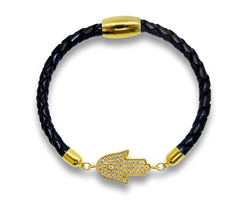 - Liza Schwartz Jewelry Hamsa Leather Bracelet (Black - Gold)