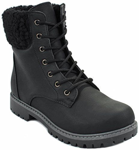 JJF Shoes Women Dallas13 Black Faux Wool Fur Cuff Lace up Nubuck Combat High Top Ankle Boots-5.5
