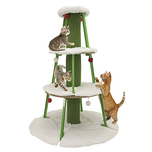 Kitty City Premium Cat Tree, Cat Condo - Woven Sisal Carpet Scratching Post, Long Fleece Bed Furniture, Total Height 50 Inches (Cat Proof Christmas Tree)