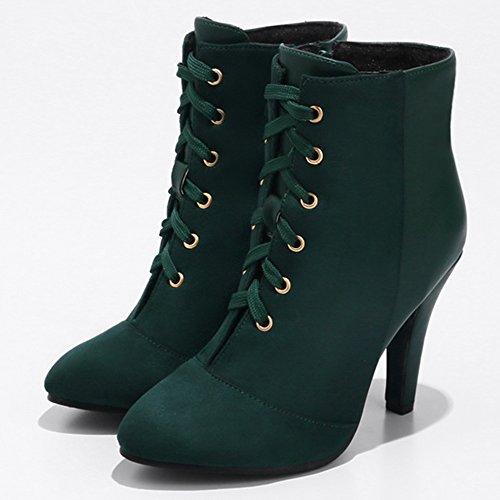 COOLCEPT Mujer A la Moda de Tacon Aguja Botas Tobillos Cordones Cremallera Green