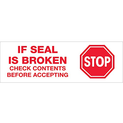 """Tape Logic T902P016PK Pre-Printed Carton Sealing Tape, Legend""""Stop If Seal Is Broken"""" with Graphic, 110 yds Length x 2"""" Width, 2.2 mil Thick, Red on White (Case of 6)"""