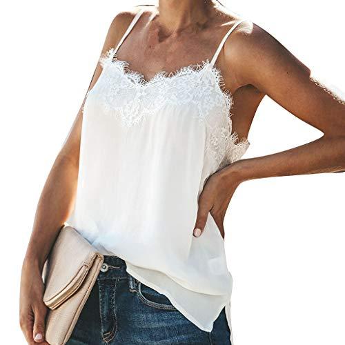 Funic New Women Vest Fashion V-Neck Eyelash Lace Tank Tops Sleeveless Blouse Camis Tops White ()